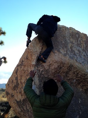 Spotting my friend-bouldering